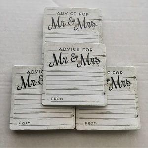 New Wedding Shower Advice Coasters Set of 32 White